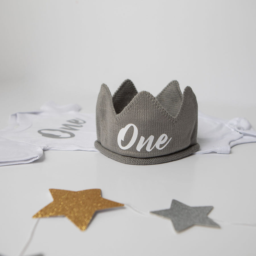 Gray with White One First Birthday Crown