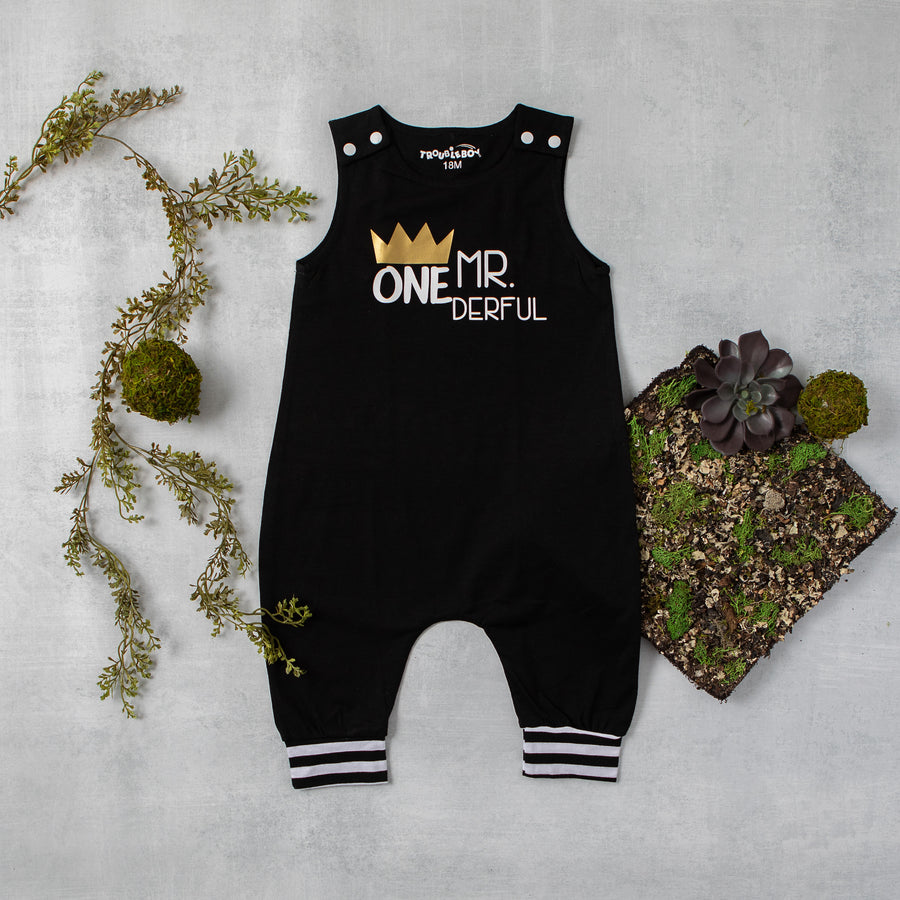 Mr. Onederful First Birthday Romper with Striped Accent