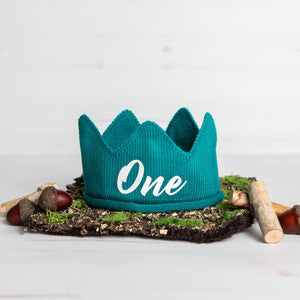 Teal with White One First Birthday Crown