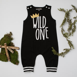 Wild One First Birthday Romper with Striped Accent
