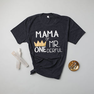 """Mom, Dad of Mr. Onederful"" 1st Birthday Family Shirts"