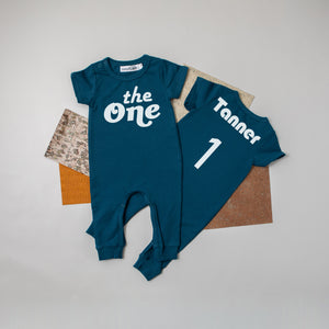 Aegean Blue Retro Wild One First Birthday Romper with Gold Writing