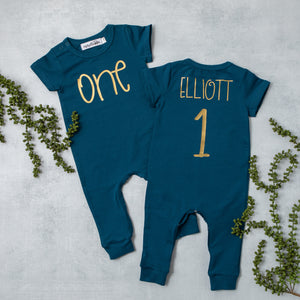 Aegean Blue Short Sleeve ONE First Birthday Romper with Gold Writing