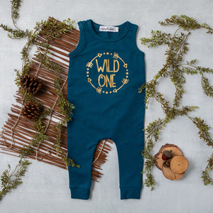 Aegean Blue Sleeveless Circle Wild One First Birthday Romper with Gold Writing