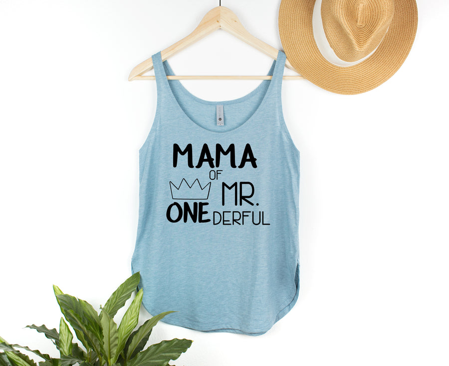 Cut Out Design Mama of Mr. Onederful Woman's Tank Top