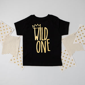 """Wild One"" First Birthday Bodysuit/T-Shirt with Gold Writing"