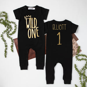 "Gray Short Sleeve ""Wild One"" First Birthday Romper with Gold Writing"