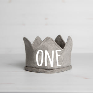 Script One First Birthday Gray Crown with White Writing