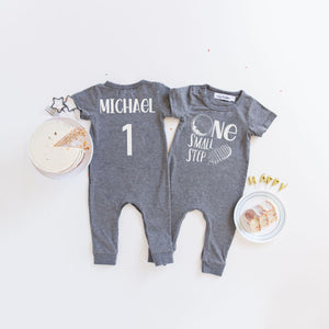 Gray One Small Step Step Space Themed 1st Birthday Romper