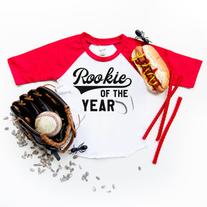 """Rookie of the Year"" Baseball First Birthday Raglan with Hat"