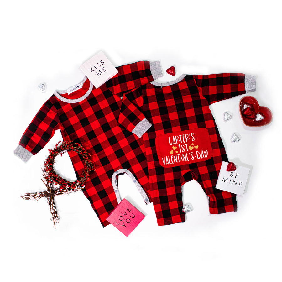 Buffalo Plaid Personalized 1st Valentine's Day Romper