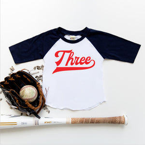 """Three"" Red Vinyl 3rd Birthday Baseball Raglan"