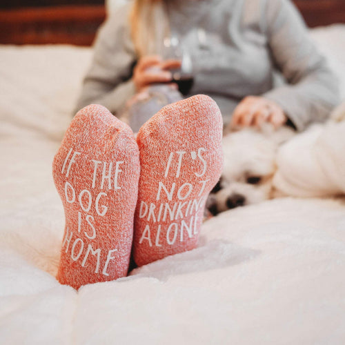 It's Not Drinking Alone If The Dog Is Home Novelty Women's Socks