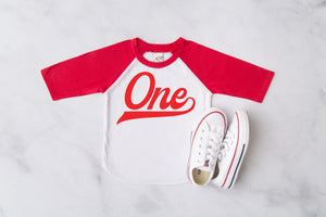 """One"" Red Vinyl 1st Birthday Baseball Raglan"