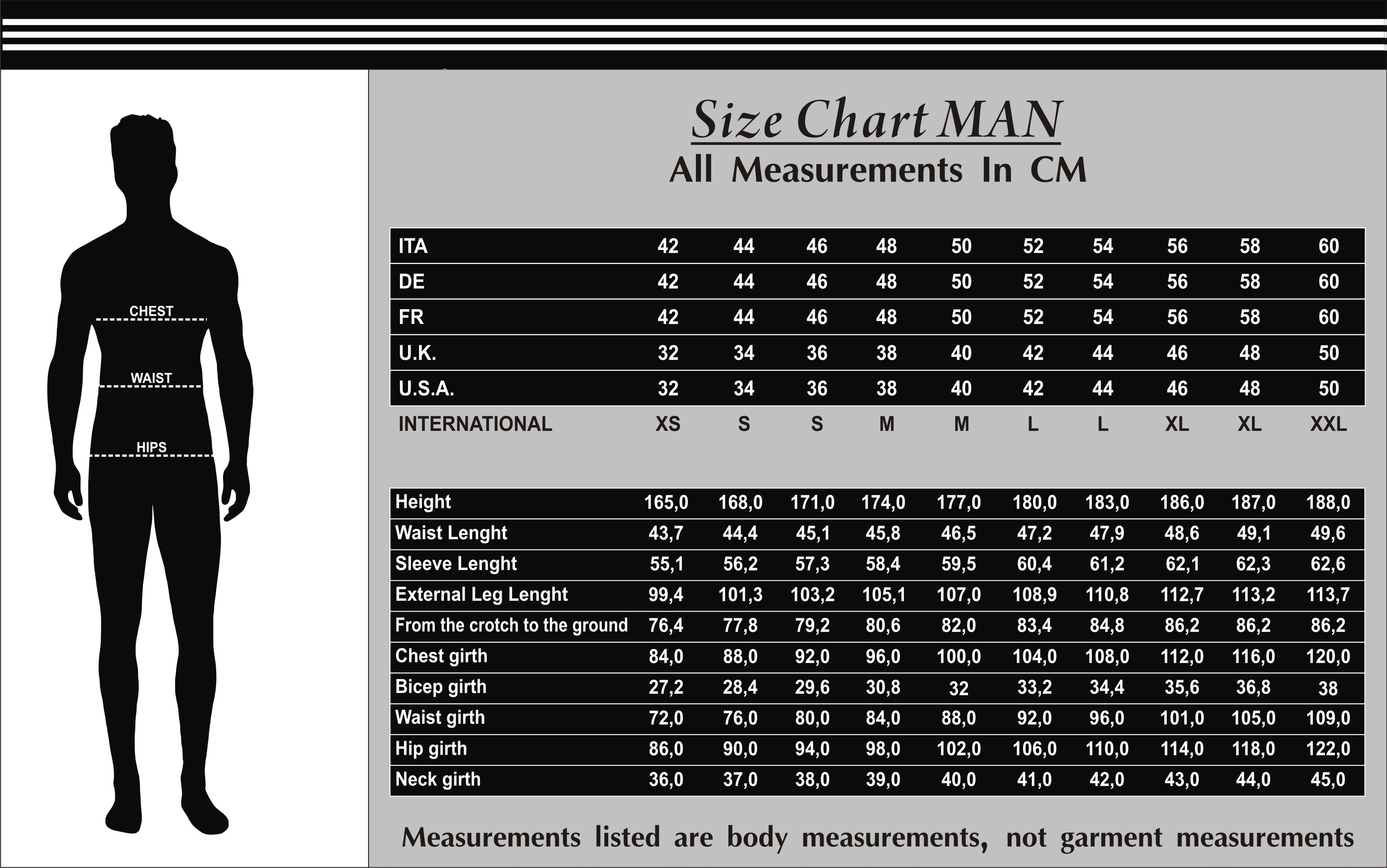 Men Leather Size Chart