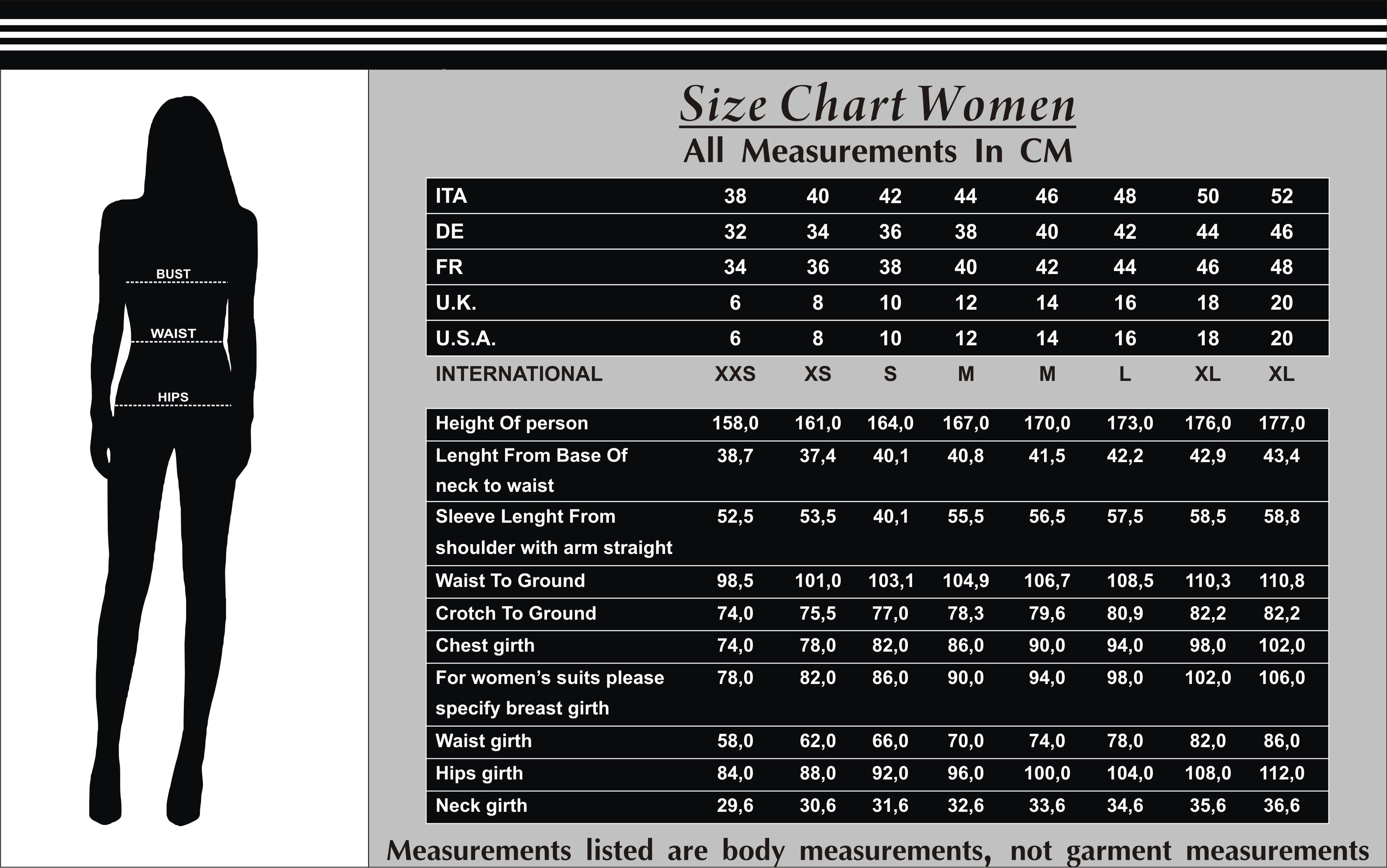 Women Leather Size Chart