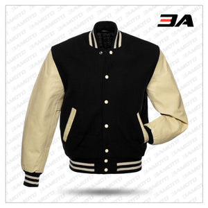 AMERICAN VARSITY JACKETS WOOL BODY ORIGINAL LEATHER SLEEVES - 3A MOTO LEATHER