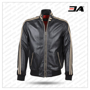 Ashwood Striped Collar Leather Bomber Jacket - 3A MOTO LEATHER