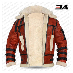 Aviator Sheepskin RAF Mens B6 Waxed Bomber Shearling Two Tone Style Leather Jacket - 3A MOTO LEATHER
