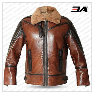 B3 RAF Aviator Men's Shearling Flying Bomber Genuine Leather Jacket Brown Shearling Leather - 3A MOTO LEATHER