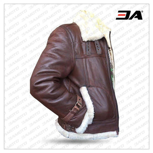 B3 RAF Aviator Pilot Sheepskin Bomber Flying Fur Shearling Brown Leather Jacket - 3A MOTO LEATHER