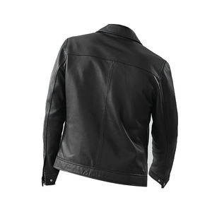 Black Biker Bomber Style Leather Jacket - 3amoto
