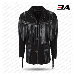 BLACK BOAR SUEDE HAND LACED BEAD FRINGED JACKET TRIMMED COAT - 3A MOTO LEATHER
