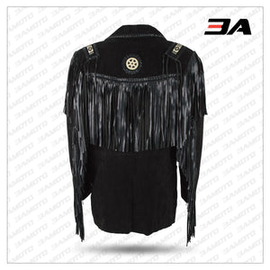 BLACK BOAR SUEDE HAND LACED BEAD FRINGED JACKET TRIMMED COAT
