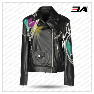 Women Boutique Printed Leather Jacket