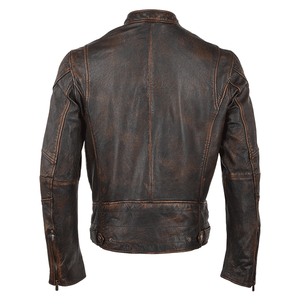 Brown Antique 3 Pockets Style Leather Jacket - 3amoto