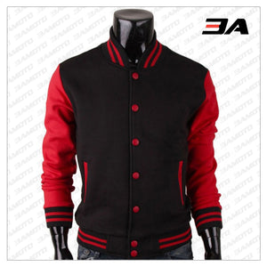 Baseball Letterman Red and Black Varsity Jacket - 3A MOTO LEATHER