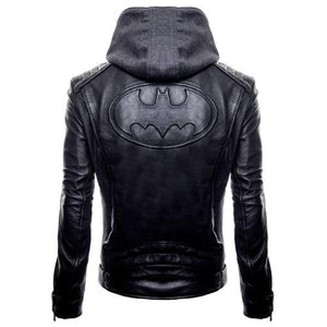 Batman Hoodie Genuine Biker Real Leather Jacket - 3amoto