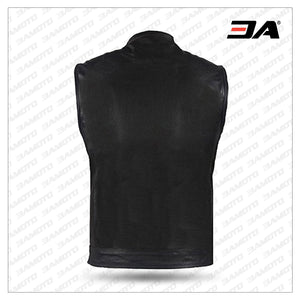 Big Men's Top Grade Club Leather Motorcycle Vest - 3A MOTO LEATHER
