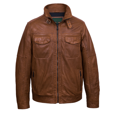 Men's Biker Bomber Style Leather Jacket - 3amoto