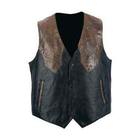 Black Motorcycle Style Leather Vest - 3amoto