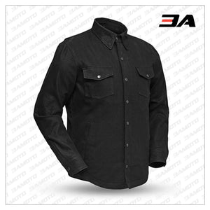BLACK DENIM MOTORCYCLE JACKET - 3A MOTO LEATHER