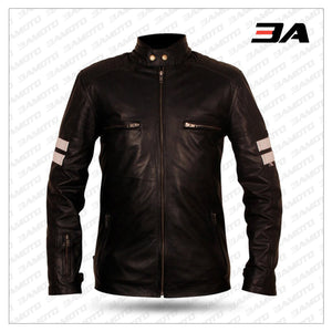 Black Leather White Stripe Jacket For Mens - 3A MOTO LEATHER