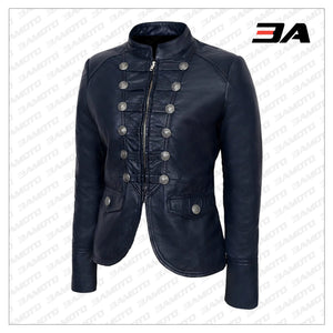Blue Victory Military Parade Style Real Leather Jacket - 3A MOTO LEATHER