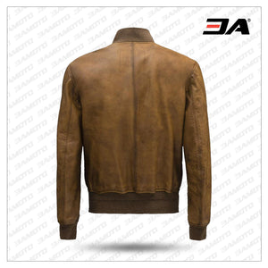 Bomber Brown Fashion Men Leather Jackets - 3A MOTO LEATHER