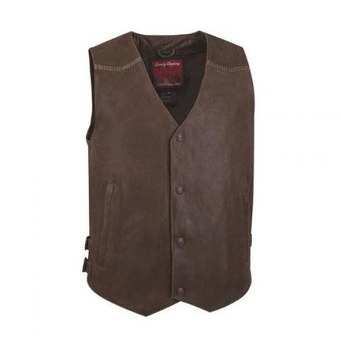 Brown Biker Style Leather Vest - 3amoto