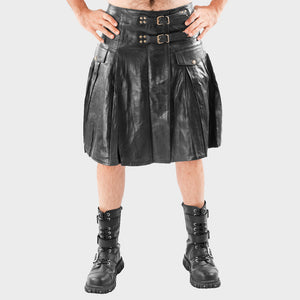 CLASSIC PLEATED STYLE LEATHER KILT