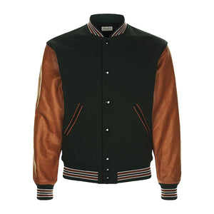 Navy Bomber Jackets With Leather Sleeve - 3amoto
