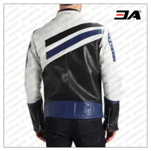 Custom Black And blue Motorcycle Leather Racing Jacket