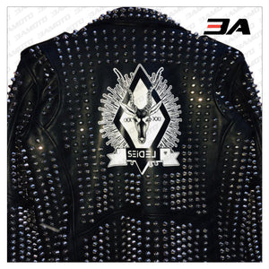 Custom Made Black Leather Studded Punk Style Jacket - 3A MOTO LEATHER