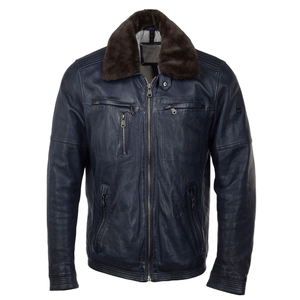Detachable Collar Bomber Style Leather Jacket - 3amoto