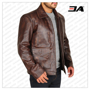 INDIANA JONES DISTRESSED MEN BROWN LEATHER JACKET - 3A MOTO LEATHER