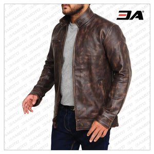 DISTRESSED BROWN SNAP TAB LEATHER JACKET - 3A MOTO LEATHER