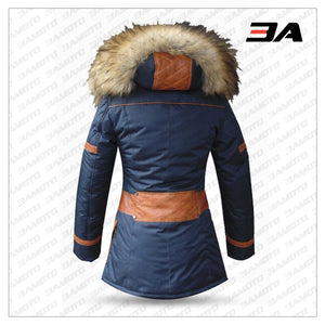 DOWN JACKET IN BLUE FABRIC AND SHEEPSKIN LEATHER