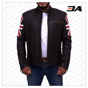 ENGLAND FLAG BIKER LEATHER JACKET - 3A MOTO LEATHER