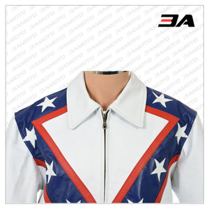 EVEL KNIEVEL ROYAL BLUE WEMBLEY TRIBUTE PURE LEATHER JACKET
